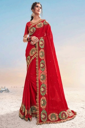 Red Pure Satin Saree with Blouse