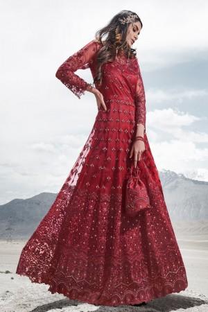 Red Net Salwar Kameez