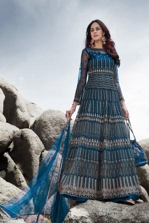 Blue Net Salwar Kameez