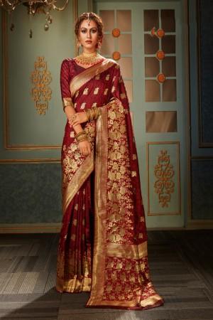 Maroon Banarasi Silk Saree with Blouse