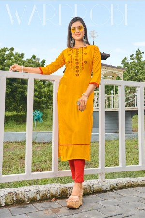 Yellow Rubby Silk Kurti