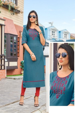 Light Blue Rubby Silk Kurti