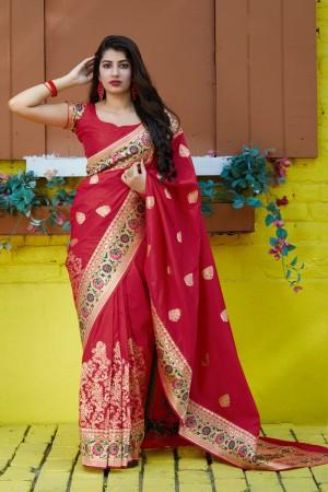 Red Banarasi Silk Saree with Blouse