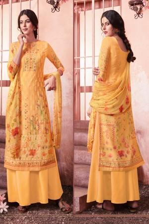 Yellow Schiffly Georgette Salwar Kameez