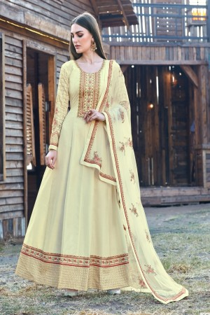 Light Yellow Dola Silk Salwar Kameez