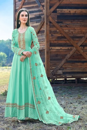 Turquoise Dola Silk Salwar Kameez