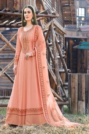 Peach Dola Silk Salwar Kameez