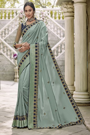 Light Green Satin Georgette Saree with Blouse
