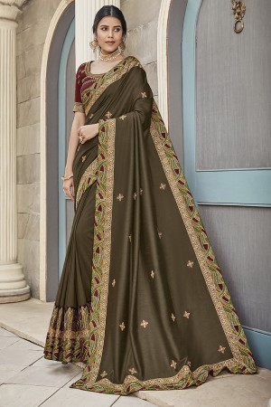 Brown Satin Georgette Saree with Blouse