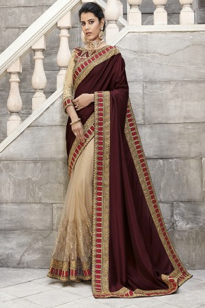 Maroon & Cream Satin Georgette Saree with Blouse