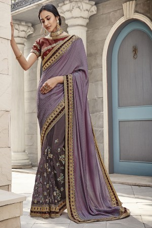 Light Purple Satin Georgette Saree with Blouse