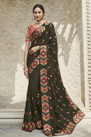 Dark Mehendi Satin Georgette Saree with Blouse