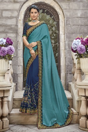 Firozi & Blue Satin Georgette Saree with Blouse