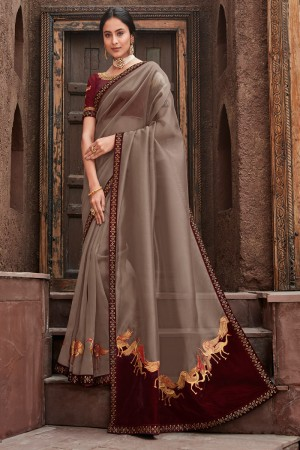 Light Brown Satin Georgette Saree with Blouse