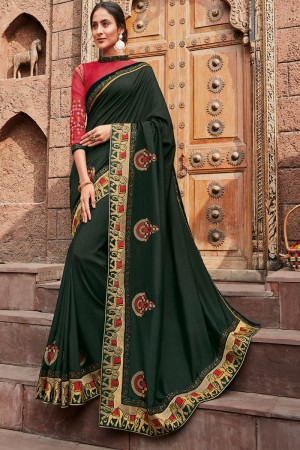 Dark Green Satin Georgette Saree with Blouse