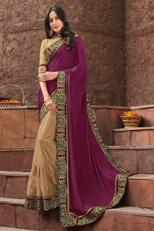 Purple & Cream Satin Georgette Saree with Blouse