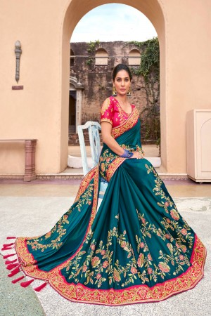 Aqua Blue Satin Georgette Saree with Blouse