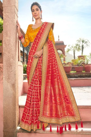 Red Satin Georgette Saree with Blouse
