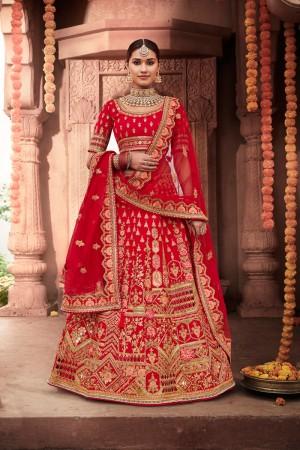 Red Heavy Slub Silk Lehenga Choli