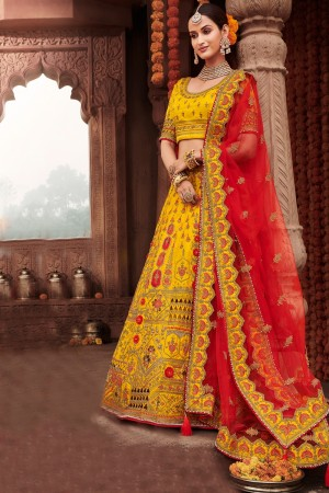 Yellow Heavy Slub Silk Lehenga Choli
