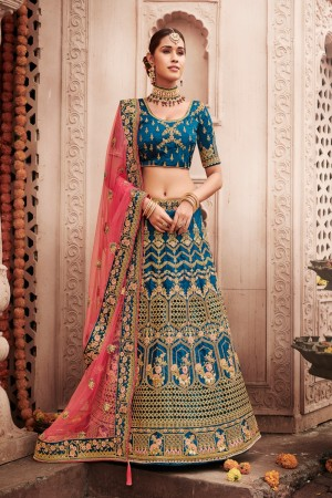 Aqua Blue Heavy Slub Silk Lehenga Choli