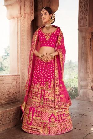 Rani Pink Heavy Slub Silk Lehenga Choli
