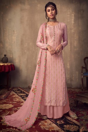 Baby Pink Pure Viscose Jacquard Salwar Kameez