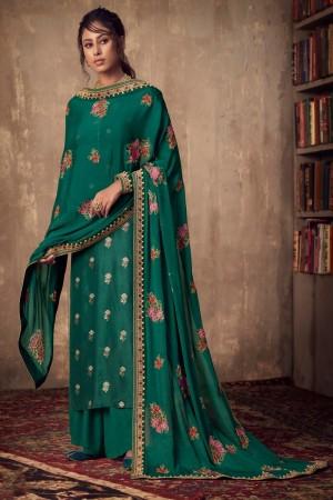 Green Pure Viscose Jacquard Salwar Kameez