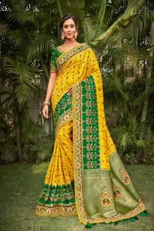 Yellow Dola Silk Saree with Blouse