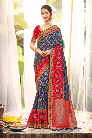 Multicolor Dola Silk Saree with Blouse