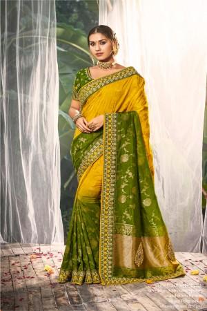 Yellow Dola Silk Saree with Blouse