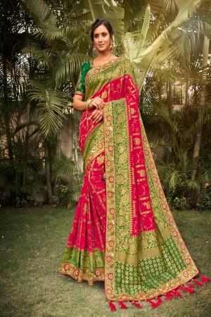 Rani Pink Dola Silk Saree with Blouse