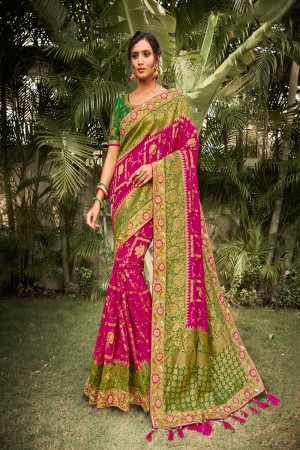 Magenta Dola Silk Saree with Blouse