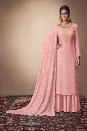 Light Pink Pure Banarasi Jacquard Salwar Kameez
