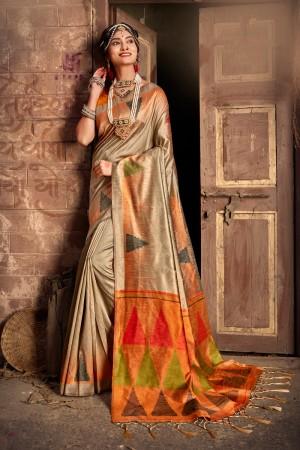 Beige Silk Saree with Blouse
