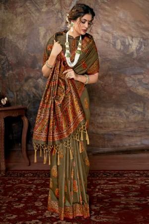 Light Mehendi Banarasi Silk Saree with Blouse