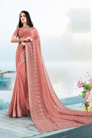 Gajri Georgette Saree with Blouse