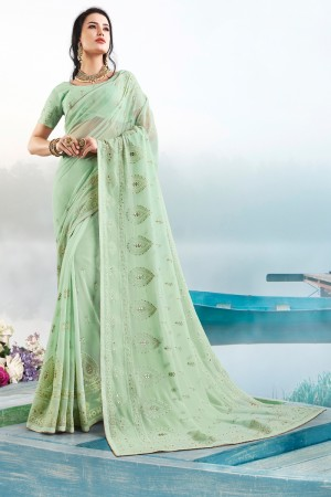 Light Green Georgette Saree with Blouse