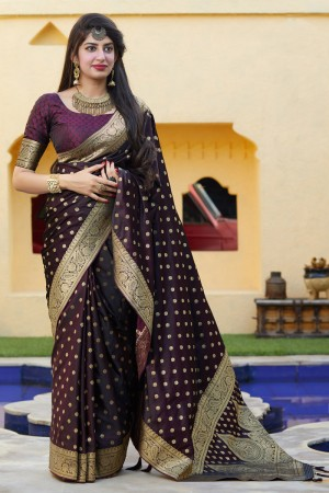 Wine Banarasi Silk Saree with Blouse