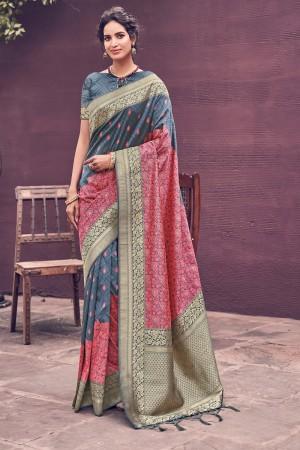 Grey & Pink Silk Saree with Blouse