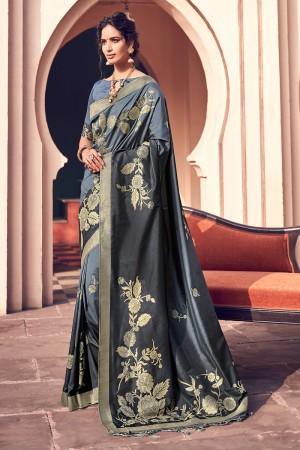 Grey & Black Silk Saree with Blouse