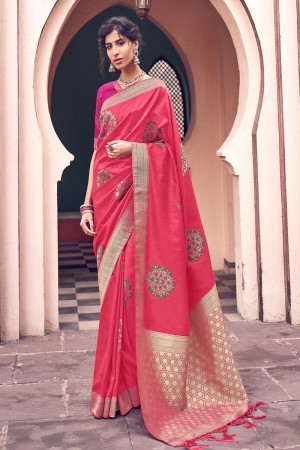 Tometo Red Silk Saree with Blouse