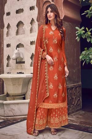 Orange Pure Dola Jacquard Salwar Kameez