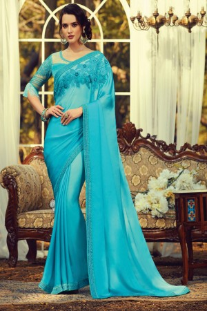 Sky Blue Sunlight Silk Saree with Blouse