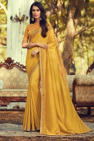 Mustard Navratna Silk Saree with Blouse