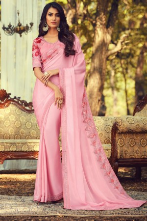Baby Pink Sunlight Silk Saree with Blouse
