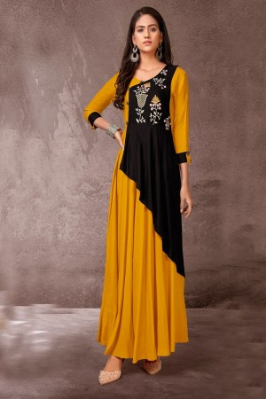 Mustard & Black Heavy Rayon Gown