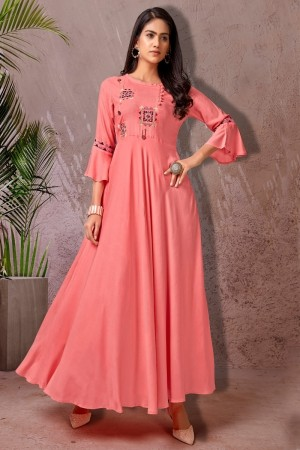 Peach Heavy Rayon Gown