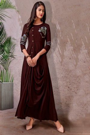 Brown Heavy Rayon Gown