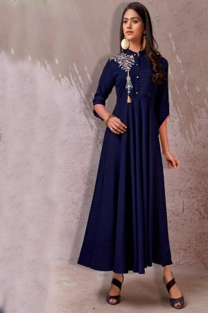 Navy Blue Heavy Rayon Gown